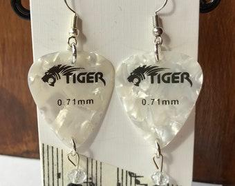Guitar pick plectrum  earrings Drop earrings Gibson, statement earrings with Fender and Tiger guitar plectrum earrings.