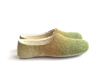 Summer Sale Handmade wool felted slippers - earth- spring color-grass green-moss-beige