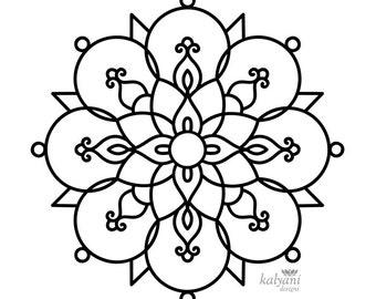 FIVE Rangoli Colouring Pages - Printable Digital Sheets