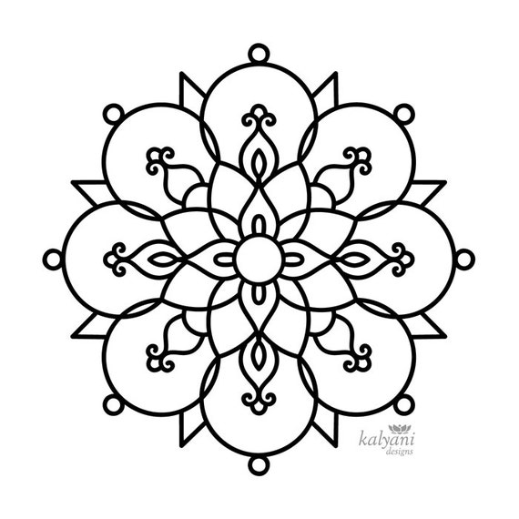 FIVE Rangoli Colouring Pages Printable Digital Sheets