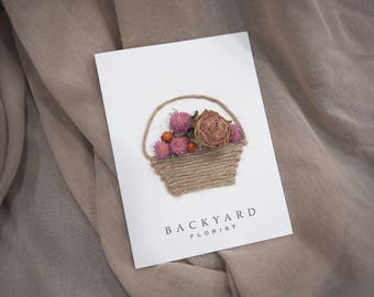 Greeting Card/Handmade Dried Flower Card with 'Flower Baskets' Design /Blank Card/ Birthday Card/ Invitation/ Wedding Card/Anniversary Card