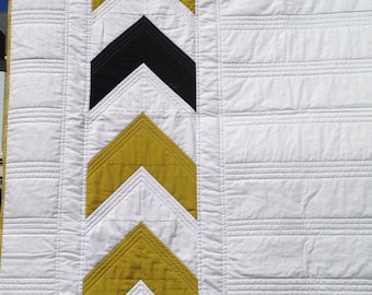 CLEARANCE Modern Chevron Lap Quilt in Gold, Black & White- Ready to Ship