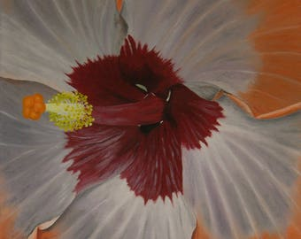 """Hibiscus Oil Painting, Flower Painting, Original Oil Painting, Flower - Orange & Silver Hibiscus (18"""" x 18"""" One of a Series)"""