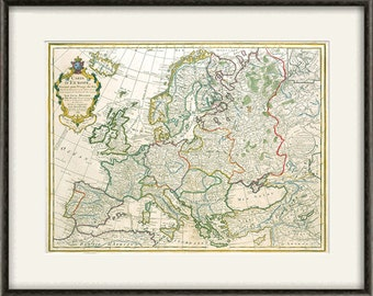 Europe Map Print Map Vintage Old Maps Antique Prints Poster - Vintage europe map poster
