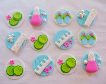 12 SPA Theme Edible Fondant Cupcake Toppers