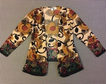 1990's, jersey knit, flowy, wrap, in earthy, floral print, Women's size Medium