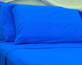 Goza Cotton 190 Gram Heavyweight Flannel Sheet Set Queen - Blue