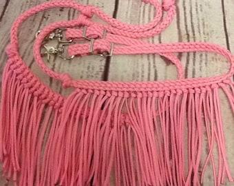 reins with fringe, Fringe reins, horse tack, barrel reins, reins, fringe barrel reins, pink reins, fringe horse tack, barrel racing