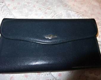 Ladies Leather Cowhide Wallet in Navy Blue Checkbook Zipper Coin Adjustable Snap Winfield Canada