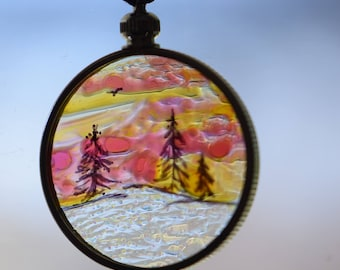 Handpainted mountains in snow pendant