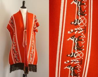 1970s poncho   vintage 70s knit wrap