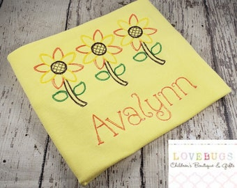 Custom Girls Sunflower Sketch Shirt ~ Many sizes available ~ Embroidered, Monogrammed