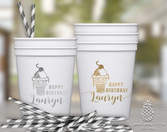 Ice Cream Birthday | Customizable Party Favor Cups | social graces and Co