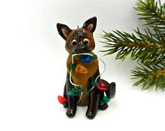 Burmese Siamese Cat Christmas Ornament Figurine Lights Porcelain