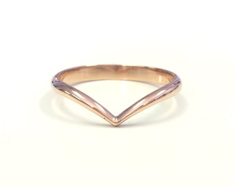Rose Gold Chevron Ring - V Shaped Wedding Band - Arrow Ring - Minimalist Simple Ring - 14kt Gold