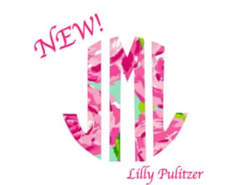 LILLY PULITZER MONOGRAM Quality Decal, Lettering Only, Cute Girlie Decals, Gifts for Her