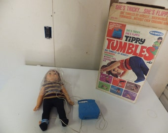 Vintage Remco 1968 Tippy Tumbles Doll with Box and Instructions