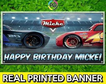 Cars 3 Printed Happy Birthday Vinyl Banner Personalized Custom Name