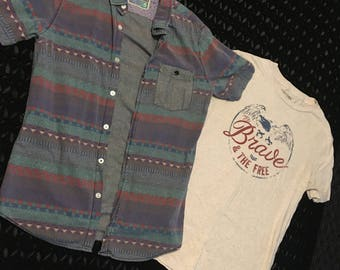 Vintage Teesh and Button Up - Medium