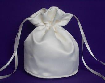 Ivory  satin dolly bag. Ribbon drawstring, wrist purse, wedding bag for bride/bridesmaid Bridal UK Seller