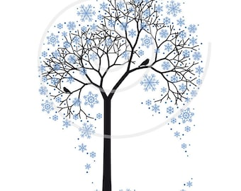 Winter tree digital clip art with snowflakes and birds, illustration, seasonal, clipart, art print, printable art, instant download
