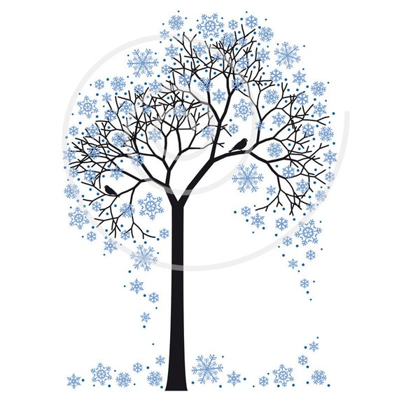 winter tree digital clip art with snowflakes and birds rh etsy com winter tree clipart black and white winter tree clipart black and white