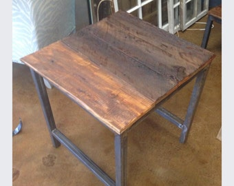 Steel leg reclaimed wood end table