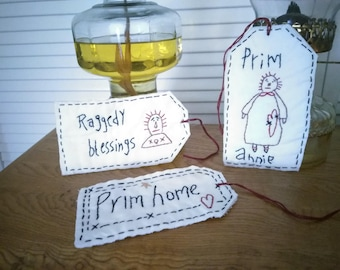 Primitive Home tags, hand stitched