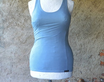 Organic yoga top sky blue racer back hand dyed tencel second skin minimalist healing holistic sportswear tanks well being summer run gym eco