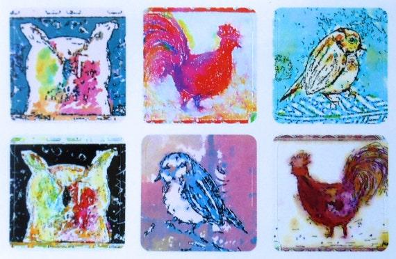 Mini Birds 4 - Fine Art Stickers