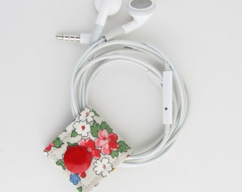 Extra Small Cord Keeper | Floral print cotton fabric vegan earbud organizer holder for small cords and cables.