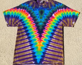 Rainbow, Bronze, and Purple V Tie Dyed Tee