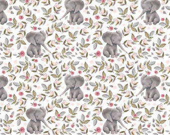 Crib Skirt Floral Elephants. Baby Bedding. Crib Bedding. Elephant Crib Skirt. Floral Crib Skirt. Elephant Nursery.