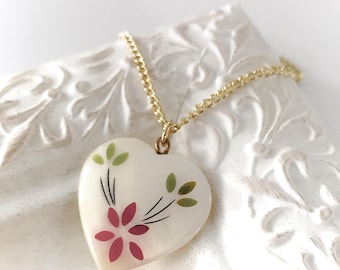Heart Pendant Necklace - Vintage flower inlay - red and green -  mother of pearl shell heart  - One of a Kind Necklace