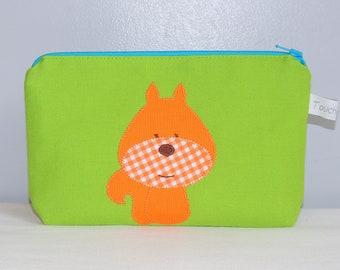 Zippered pouch, squirrel, green, inside cotton waterproof, school