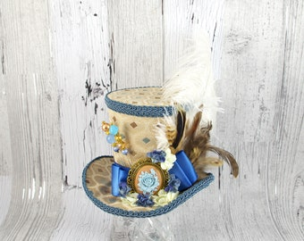 Antique Blue, Cream, and Beige Cameo and Flower Large Mini Top Hat Fascinator, Alice in Wonderland, Mad Hatter Tea Party, Derby