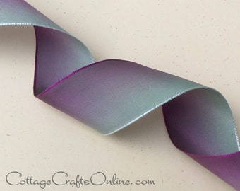 "Wired Ribbon 1 1/2"" wide, Purple fading to Sage Green Ombre - TEN YARD ROLL -  ""Pistachio"" Flower Ribbon Craft, Fall Wire Edged Ribbon"