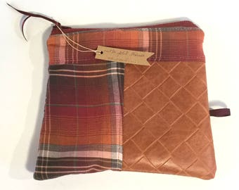 Small bag, faux leather, purple, Plaid, gift for her