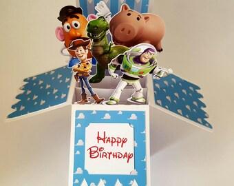 Disney Toy Story 3D Pop Up Personalised Greeting box Card handmade Buzz Lightyear Woody Hamm Mr Potato head Rex
