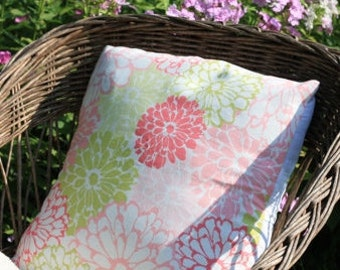 Pillow Cover 16x16 - Pink Floral Pillow Case - Green Floral Pillow Cover - Pink Peony Print - Green Flower Print Pillow -Spring Pillow Cover