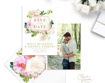 Blossom Save the Date announcement with envelope I Botanical I Spring Wedding I Engagement Announcement I Pink Flowers I Garden Flowers