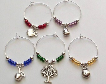 Tree Fruit Wine Charm Set, Fruit Wine Glass Markers, Gardener's gift, Wine Gift