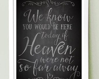 Wedding Sign Instant Printable // We know you'd be here today if Heaven weren't so far away // CHALKBOARD // LARGE SIZE 11x17, 16x20