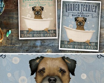 Border Terrier dog bath soap Company vintage style artwork by Stephen Fowler Giclee Signed Print