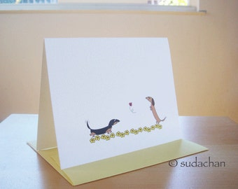 Dachshund Folded Note Cards With Flowers (Set of 10)