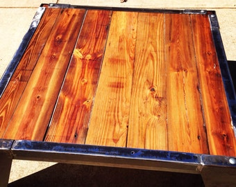 Modern Rustic reclaimed coffee table steel and reclaimed pine flooring