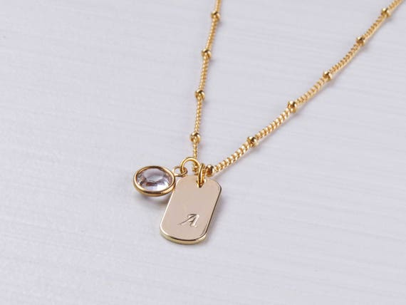 Birthstone & Initial Dog Tag Necklace