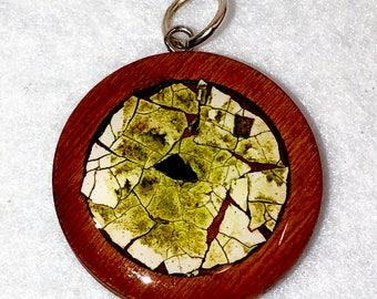 """1"""" Eggshell Mosaic Wood circle bezel (#206)"""