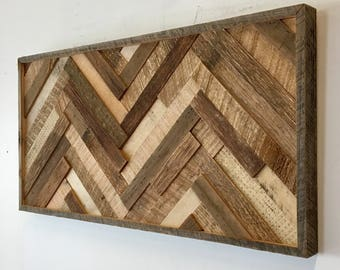 Reclaimed Wood Wall Art (Herringbone Slats) FREE SHIPPING!