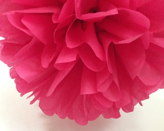 CRANBERRY tissue paper pompom / wedding ceremony decorations arbor archway aisle marker poms / 30th birthday party decor dirty thirty